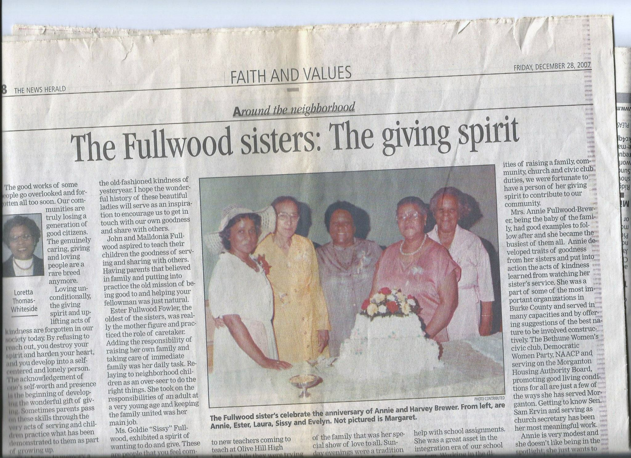 Photograph, from the 1980s, of my late grandmother and her sisters featured in the Morganton New Herald