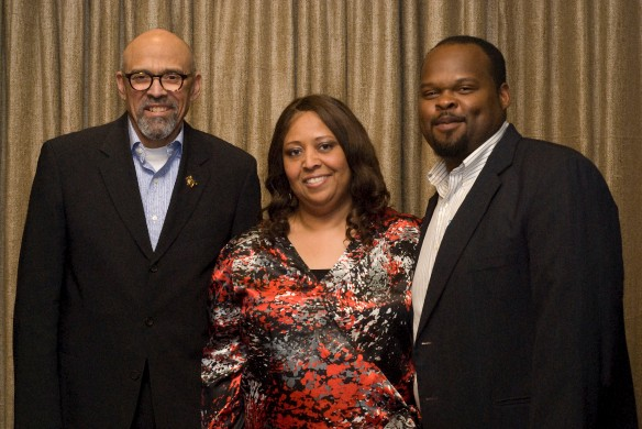 "Lou Bellany, Annetta Foard and Quentin Talley, at ""Lou, Q and You at e2"" in April  