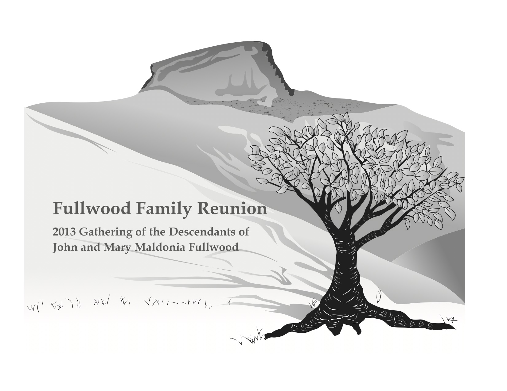 My drawing of North Carolina's Table Rock in the Linville Gorge area with my family tree that we used for the t-shirt at the 2013 Fullwood Family Reunion