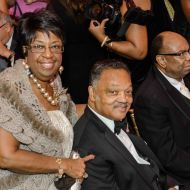 Guests with Jesse Jackson Sr., who delivered the invocation